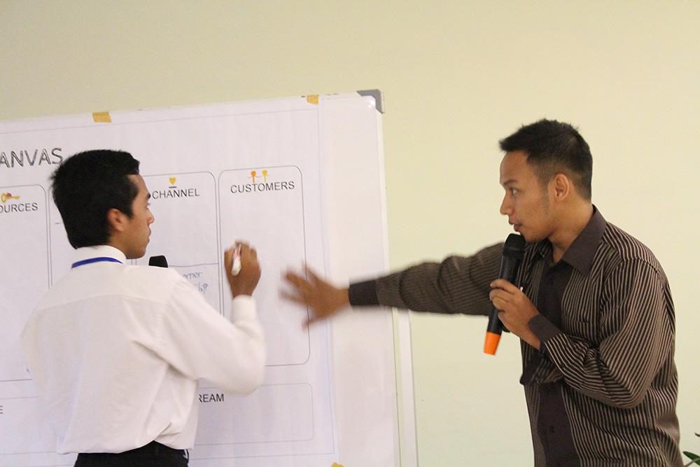 Demo dan pengaplikasian Business Model Canvas di salah satu ide bisnis peserta