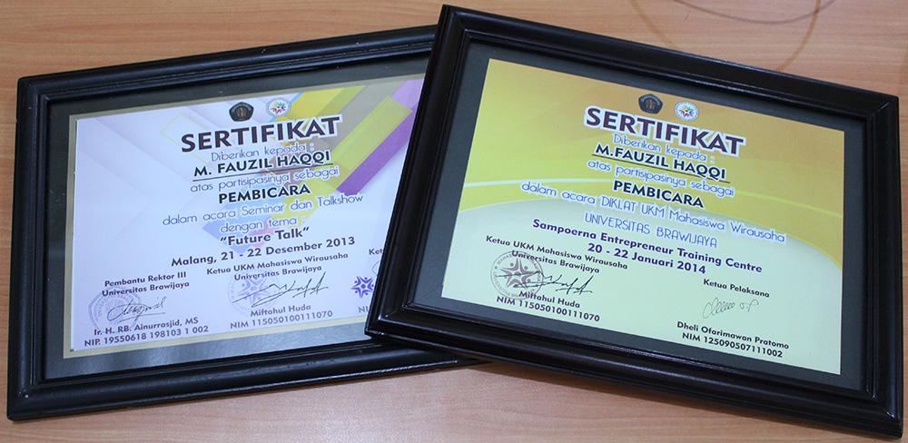 Terima kasih atas dua sertifikatnya di dua acara UKM Mahasiswa Wirausaha UB