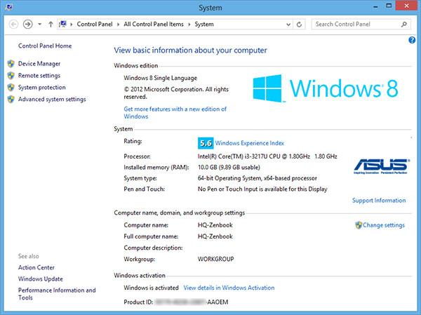 Tampilan index ASUS Zenbook UX32A